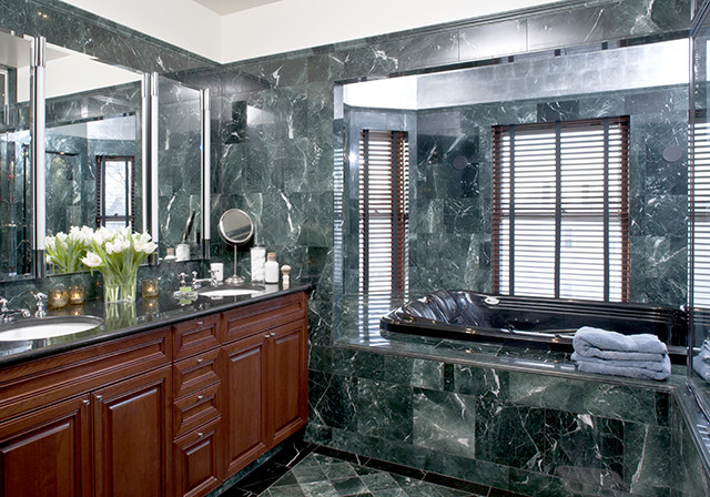 Somerville Shingle Style marble bathroom