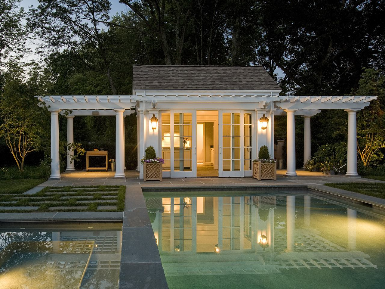 Weston pool cabana by Merrimack Design