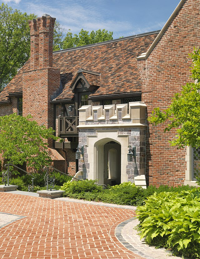 Newton Tudor Revival Exterior, paved walkway